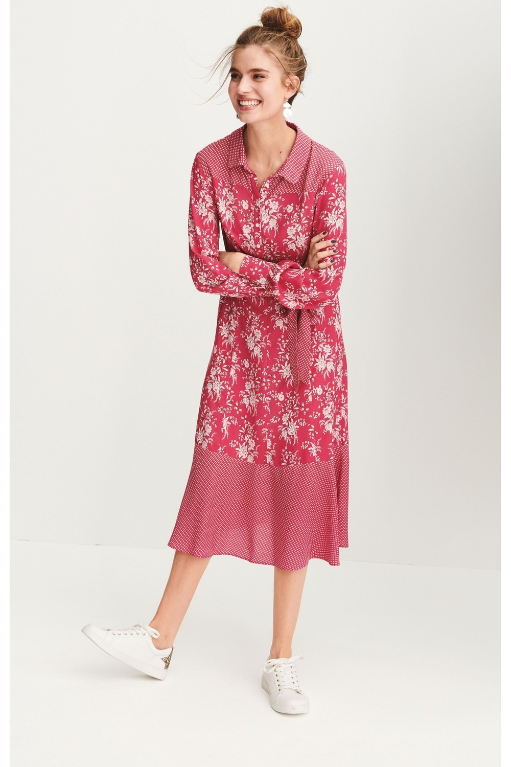 Next Pink Print Shirt Dress