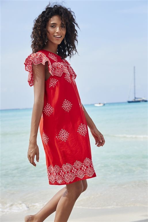 Next Red Broderie Dress