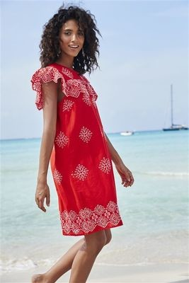 Next Red Broderie Dress