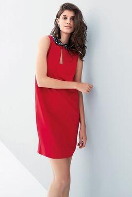 Next Red Embellished Collar Dress