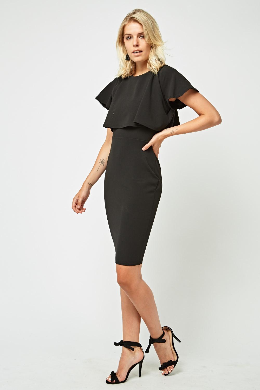 Overlay Top Midi Bodycon Dress Black