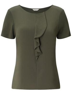 KHAKI Ruffle Front Short Sleeve Top