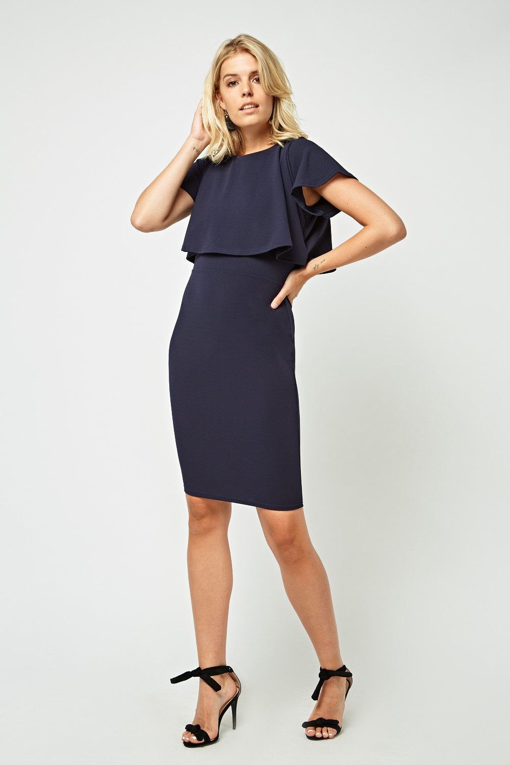 Overlay Top Midi Bodycon Dress Navy