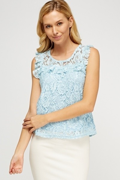 Lace Overlay Top Light Blue