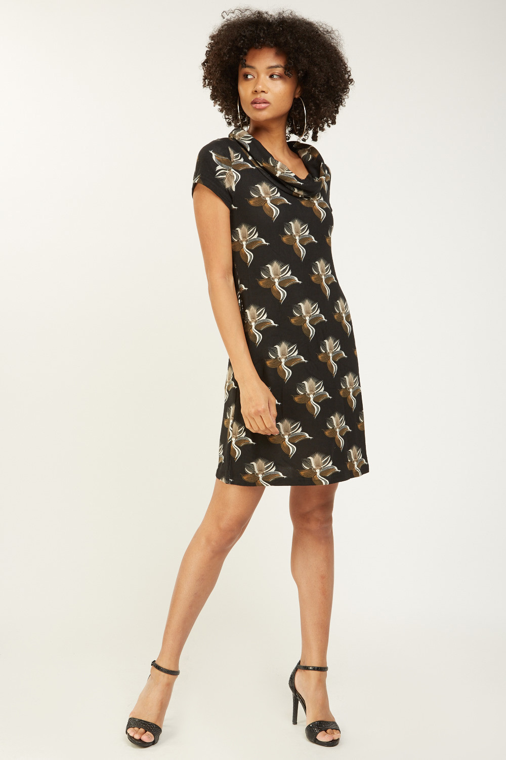 Printed Cowl Neck Shift Dress