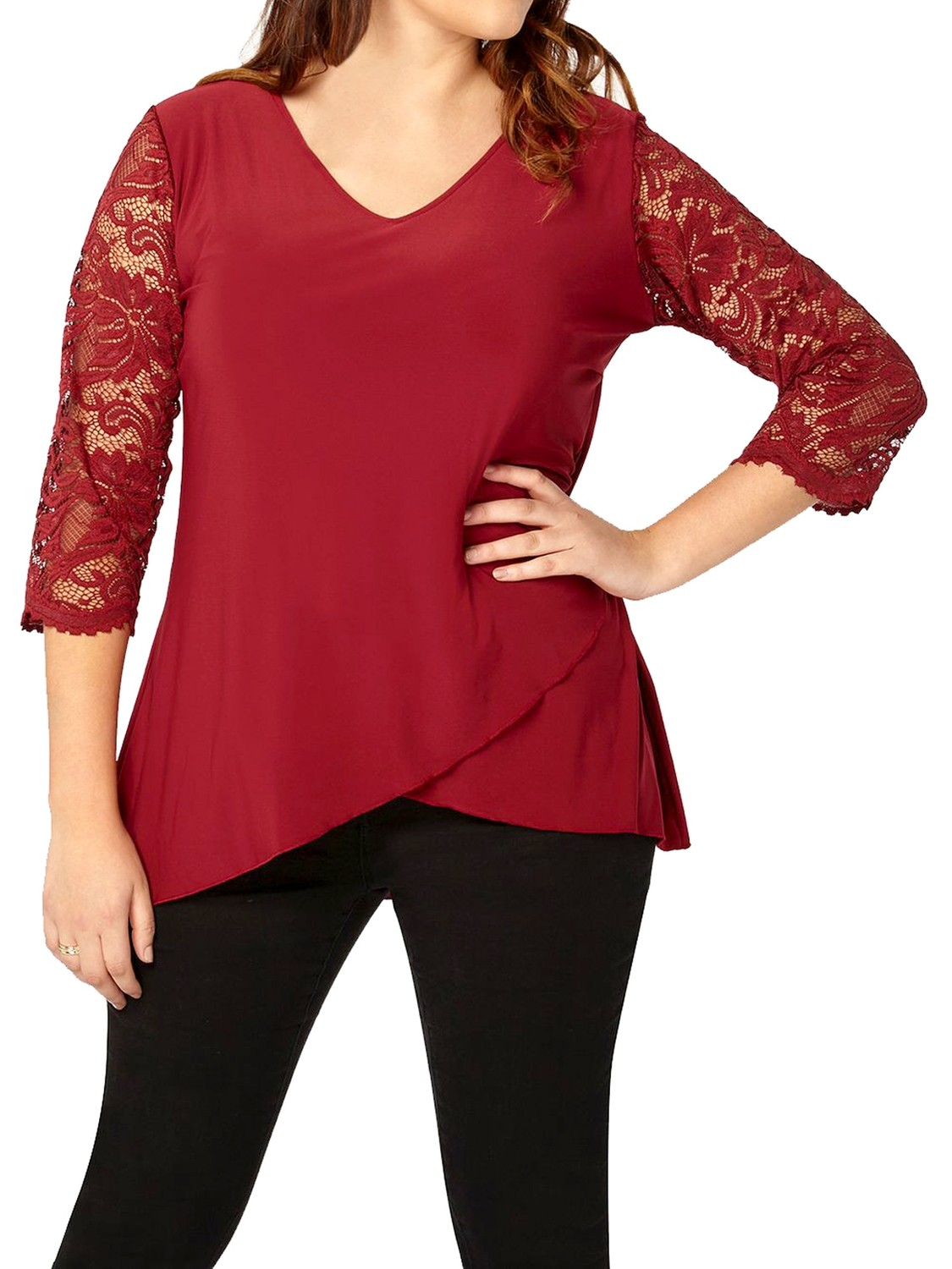 Lace Sleeve Tunic Top by Grace