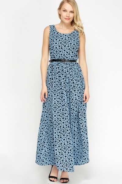 Printed Elasticated Maxi Dress blue/black