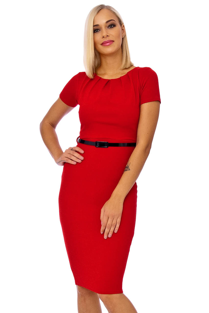 Mayfair Crepe Cap Sleeve Midi Dress Red