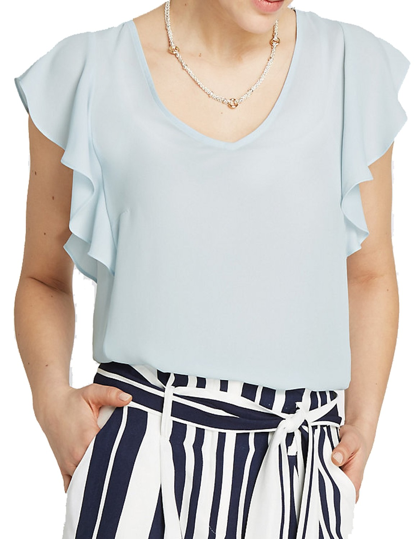 Light Blue V-neckline Ruffle Sleeve Shell To