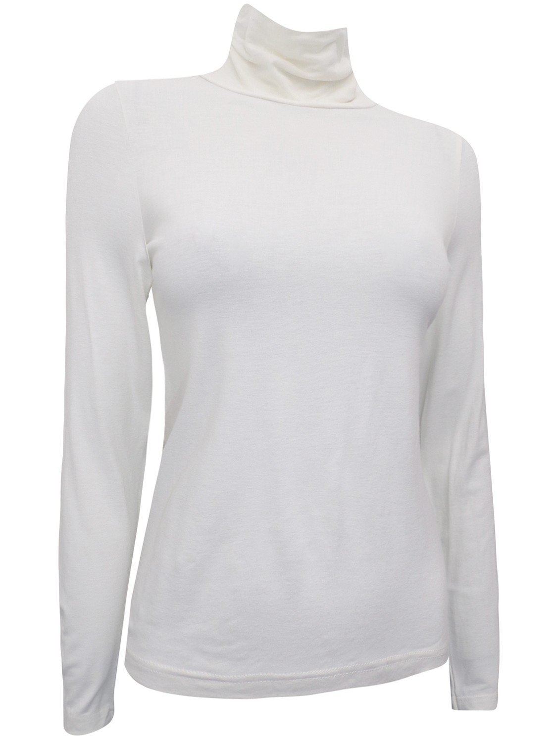 Long Sleeve CLARA Roll Neck Jersey Top Cream