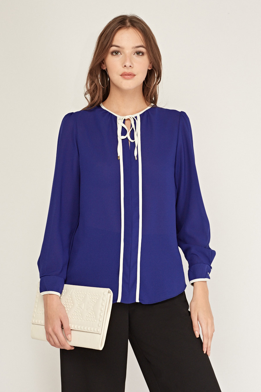 Long Sleeve Sheer Blouse Purple/White