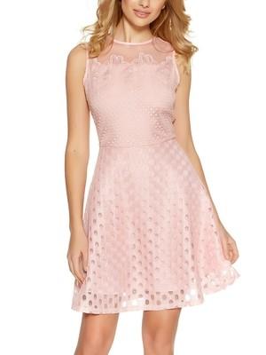 Soft Pink Crochet Burnout Mesh Skater Dress By Quiz