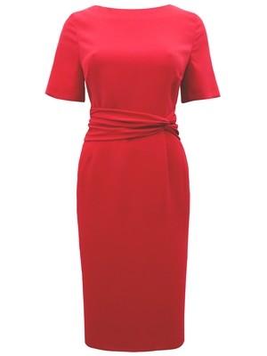 Twist Drape Panelled Shift Dress red