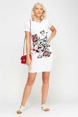 White Printed Bodycon Dress