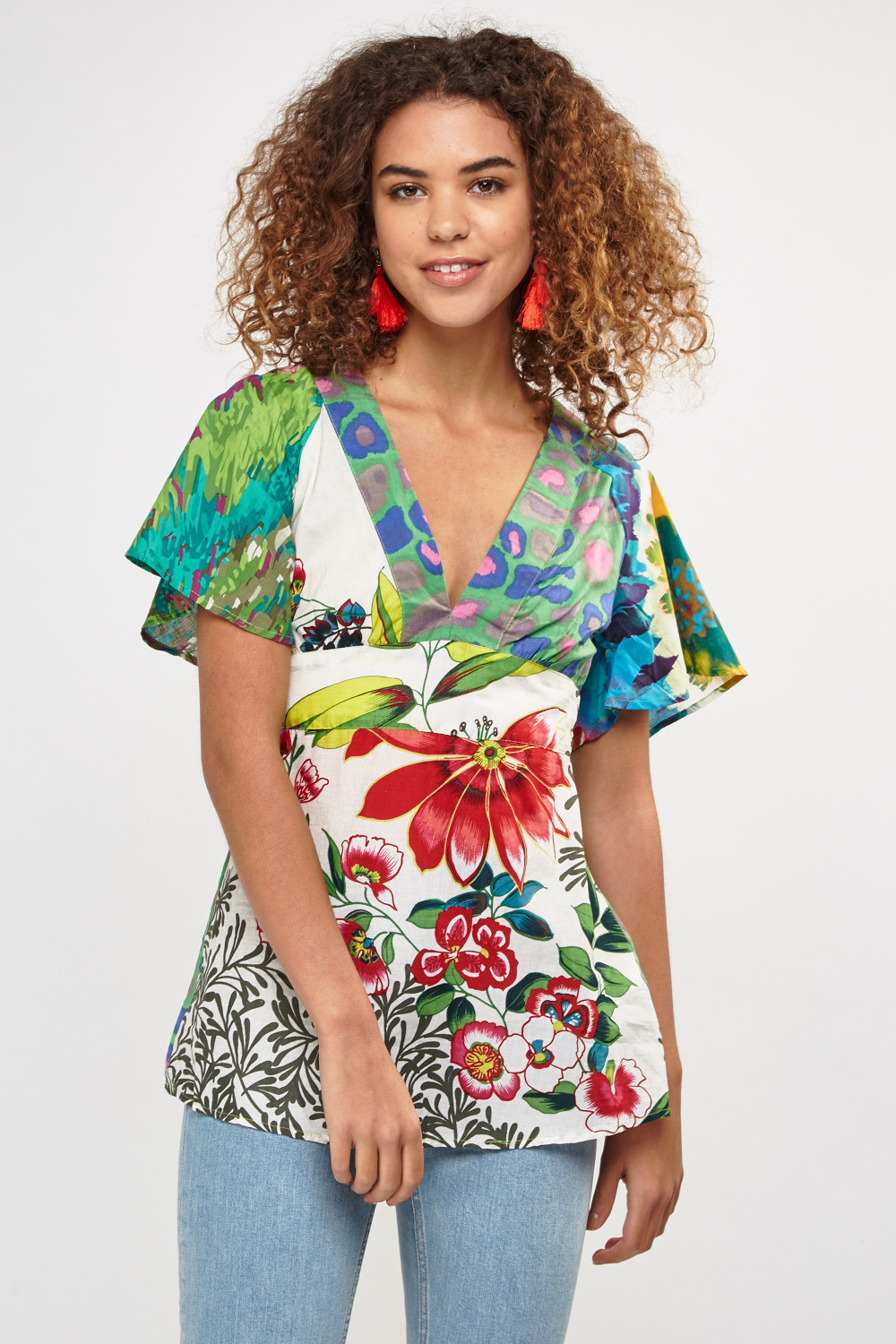 Mix Floral Printed Kaftan Top