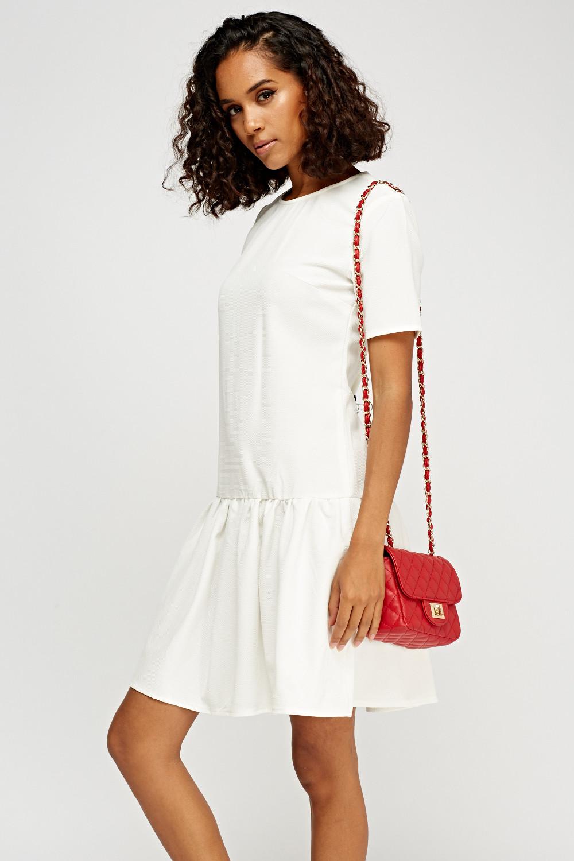 White Ruched Hem Textured Dress