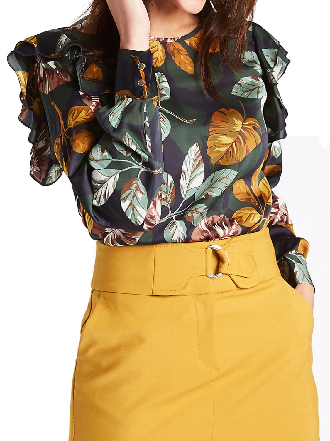 Navy Printed Frill Shoulder Shell Top by M&S Collection