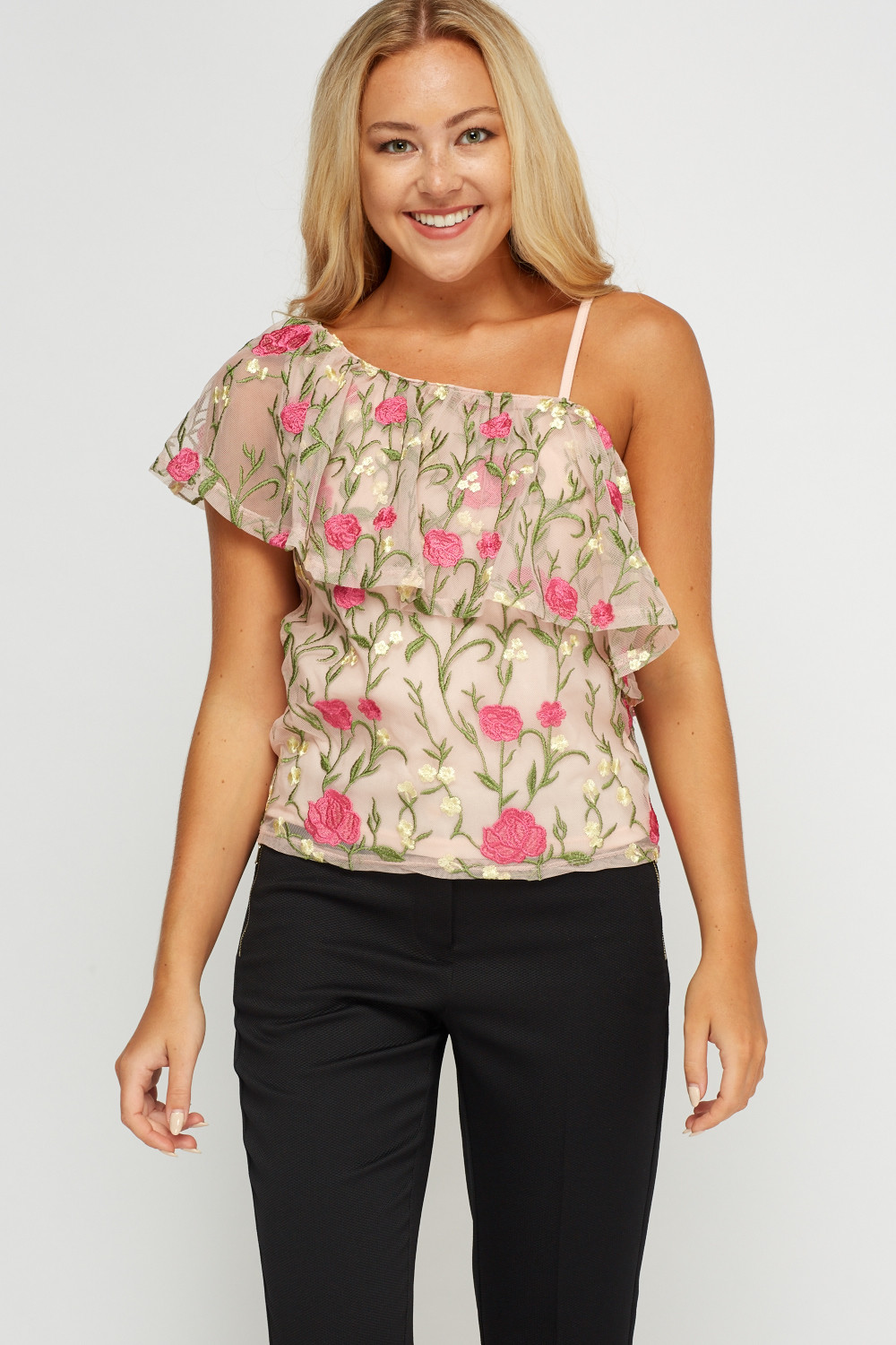 Peach Embroidered Mesh Top