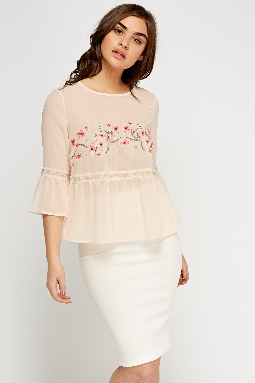 Peach Sheer Embroidered Top