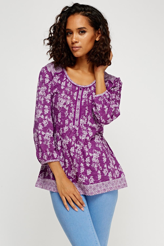 Purple 3/4 Sleeve Printed Top