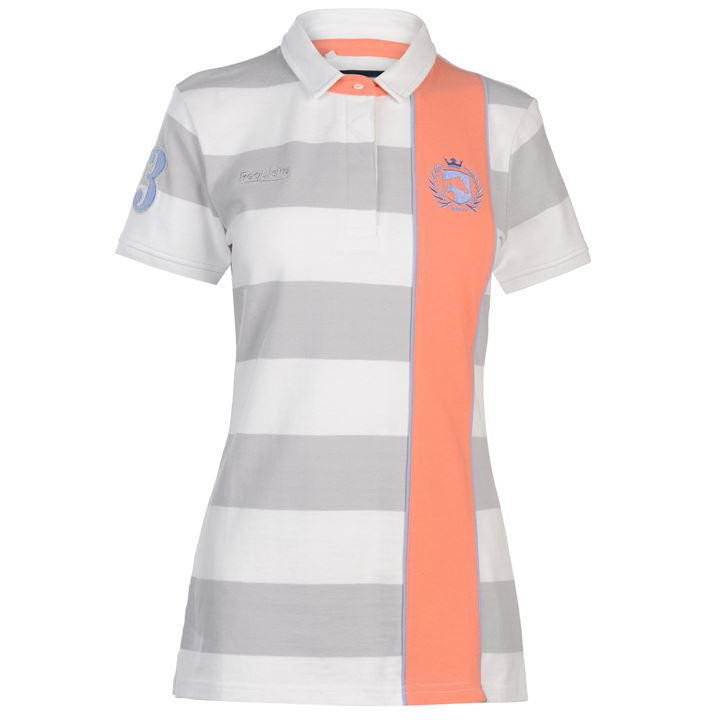 Requisite Sash Polo Shirt Ladies grey white