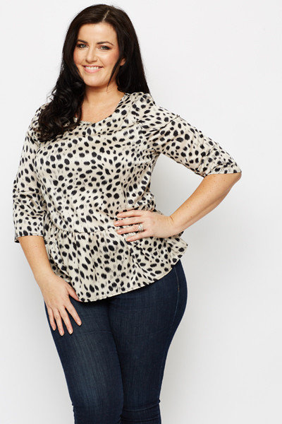 Silky Feel Animal Print Peplum Top