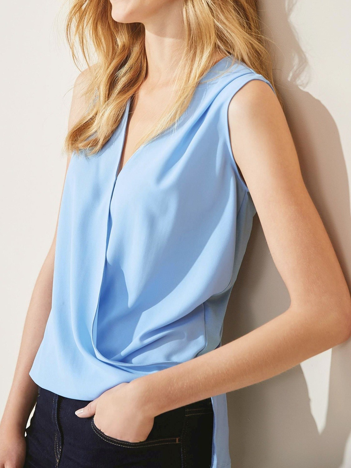 Sleeveless Drape Shell Top Cornflower by Next