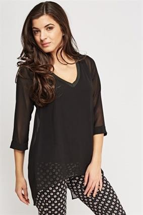 Slit back blouse Black