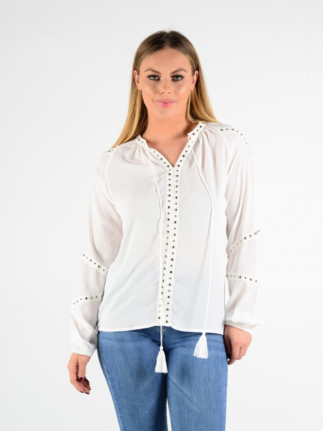 Stud Trim Crepe Top