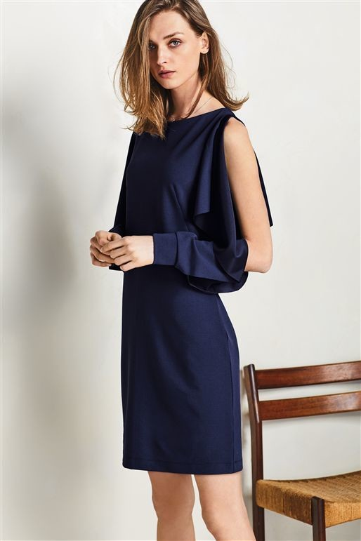 Next Navy Open Sleeve Dress