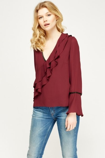 Wine Contrast Frilled Blouse