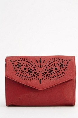Laser Cut Faux Leather Crossbody Bag Burgundy