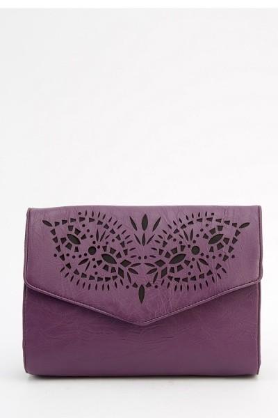Laser Cut Faux Leather Crossbody Bag Purple