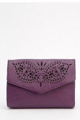 Laser Cut Faux Leather Crossbody Bag Purple