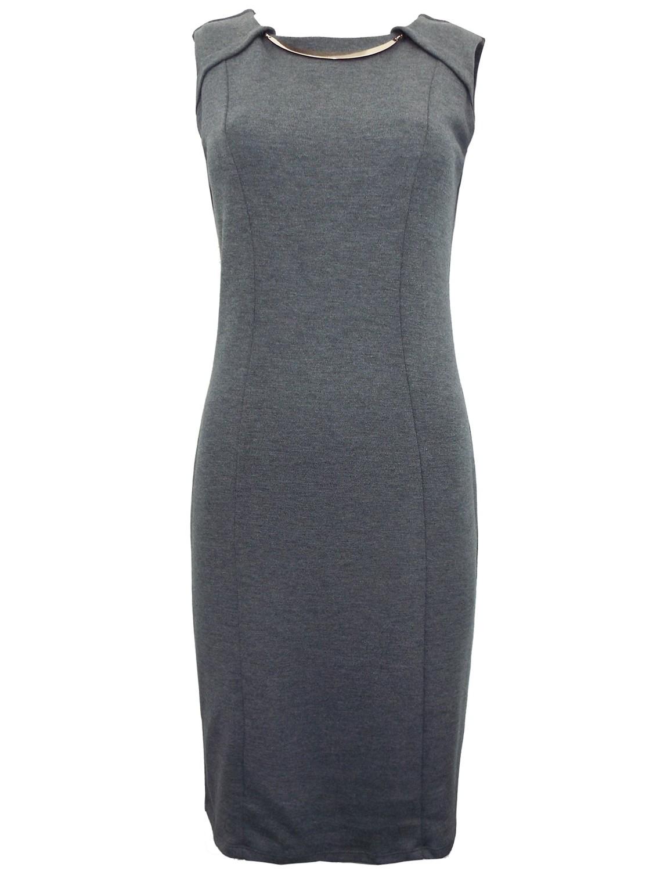 GREY Sleeveless Bar Front Panelled Shift Dress