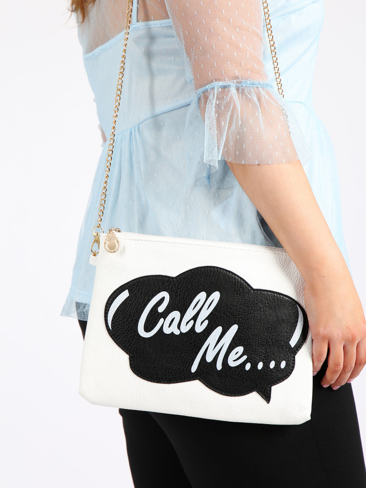 White slogan clutch bag