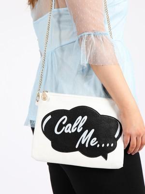 White slogan clutch bag