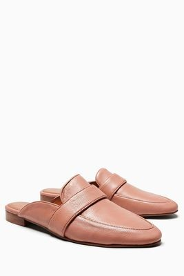 Blush Leather Loafer Mules