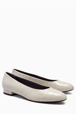 Grey Croc Effect High Cut Ballerinas