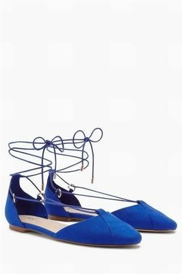 Lace up next ballerinas blue