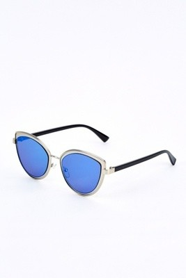 Cat Eye Mirrored Sunglasses Blue