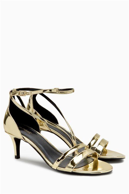 Next Gold Strappy Kitten Sandals