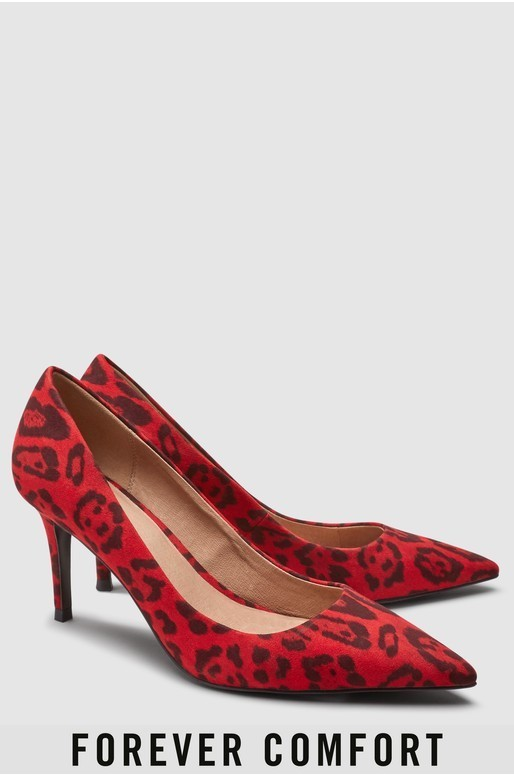 Next Red Animal Print Mid Heel Court Shoes