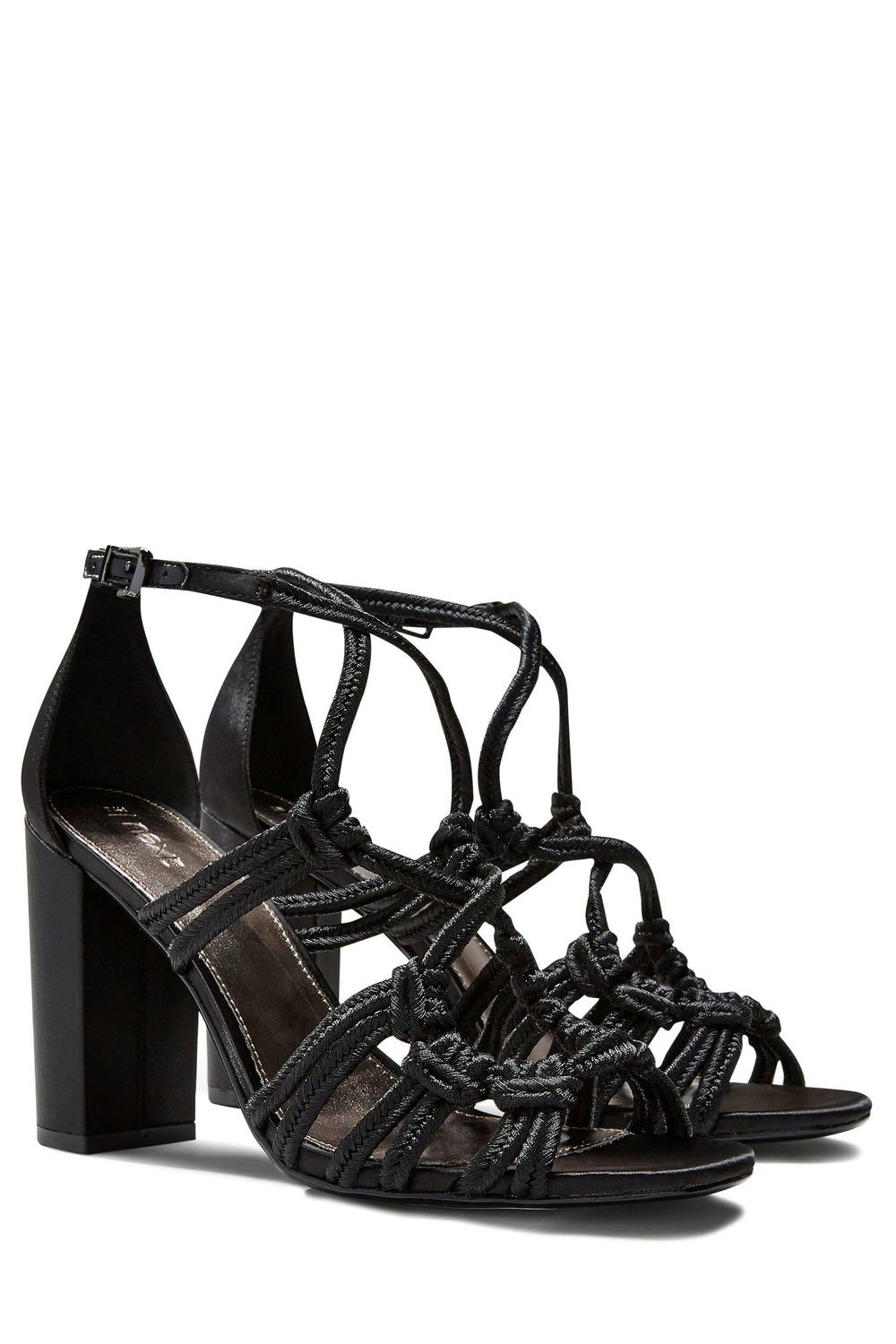 Next Rope Block Black Heels