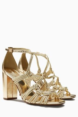 Next Rope Block Gold Heels