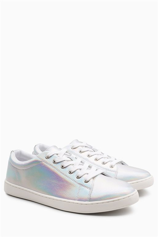 Silver Holographic Lace-Up Trainers