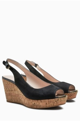 Next Cork Wedges Black