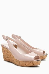 Next Cork Wedges Nude