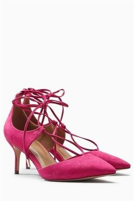 Pink Next Lace-Up Pointed Kitten Heels