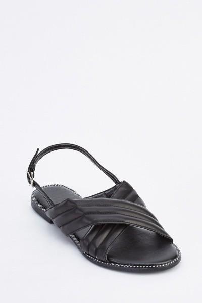 Cross Strap Slingback Flat Sandals